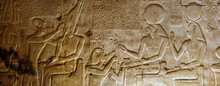 Detail Of The Relief, Drawing With Hieroglyphs Based On The Mythology Of Ancient Egypt - Temple Of Sethy The First At Abydos - Middle Egypt