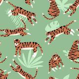 Lato bezszwowy wzór z tygrysami. Wektorowa egzotyczna ilustracja - 275900400