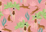 Lato bezszwowy wzór z ladyes w kostiumach kąpielowych, tropikalnych drzewkach palmowych i lampartach. Wektorowa ilustracja - 275900415