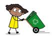 Dragging a Dustbin - Retro Black Office Girl Cartoon Vector Illustration