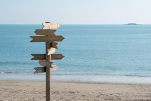 Signs Without Text On A Beach ...