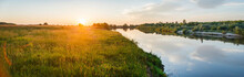 Beautiful Evening Natural Landscape Near The River During Sunset. Ryazan Region Village Lasitsy
