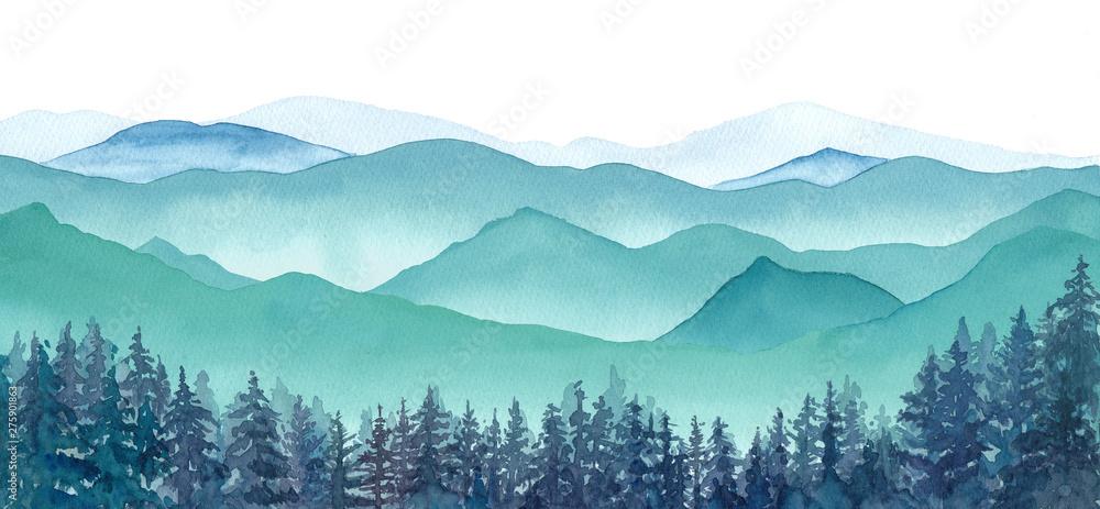 Fototapety, obrazy: 霧の山々と針葉樹林の眺め