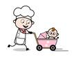 Running with Baby Stroller - Cartoon Waiter Male Chef Vector Illustration