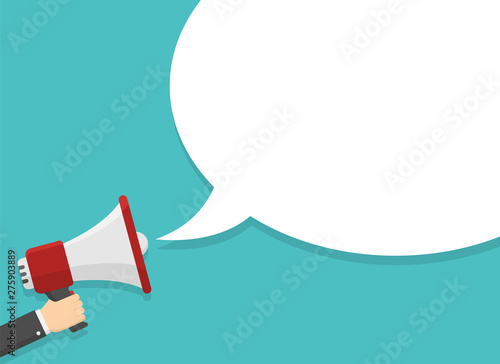 Photo  megaphone with hand vector illustration