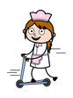 Playing with Scooter - Retro Cartoon Waitress Female Chef Vector Illustration