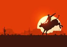 Rodeo Cowboy Riding Bull At Sunset, Vector