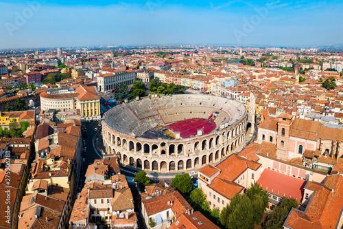 Verona Arena aerial panoramic view Canvas Print