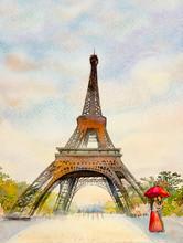 Paris European City Landscape. France, Eiffel Tower.