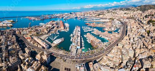 Genoa port aerial panoramic view Obraz na płótnie