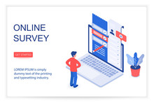 Online Survey Isometric Landing Page Vector Template. Customer, Client Feedback, Review, Questionnaire 3d Concept Illustration. Service Quality Check Website Layout. Checklist Form On Laptop Screen
