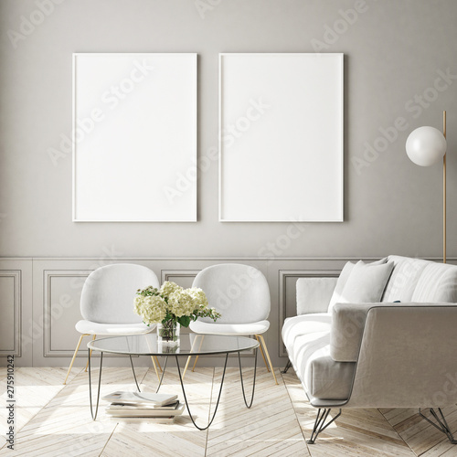 Aluminium Prints Wild West mock up poster frame in modern interior background, living room, Scandinavian style, 3D render, 3D illustration