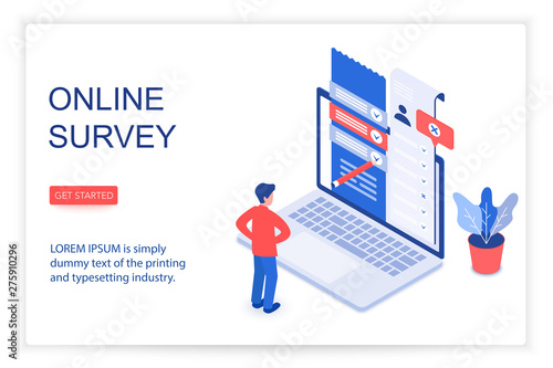 Online survey isometric landing page vector template. Customer, client feedback, review, questionnaire 3d concept illustration. Service quality check website layout. Checklist form on laptop screen - fototapety na wymiar