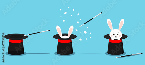 Leinwand Poster Isolated magician's black hat, magic hat with bunny ears, white rabbit in hat with magic wand in action and stars