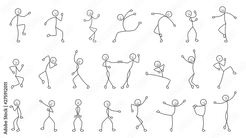 Fototapety, obrazy: dancing people, freehand drawing, sketch, stick figure man pictogram, isolated silhouettes on white background