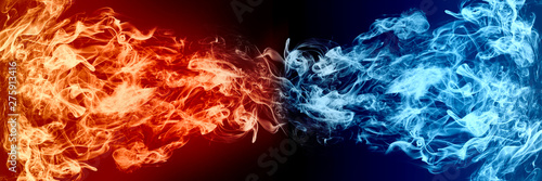 Fotografia  Abstract Fire and Ice element against (vs) each other background