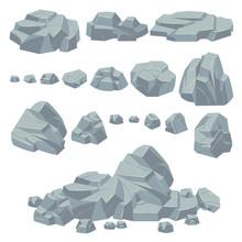 Rock Stones. Natural Stone Rocks, Massive Boulders. Granite Cobble Cliff And Stone Heap For Mountain Landscape. Cartoon Vector Set