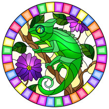 Illustration In Stained Glass Style With Bright Green Chameleon On Plant Branches Background With Leaves And Flowers On Light Background,round Image In Bright Frame