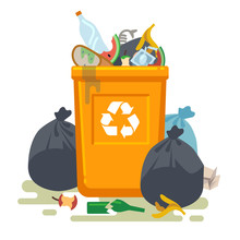 Overflowing Trash Can. Food Garbage In Waste Bin With Nasty Smell. Rubbish Dump And Trash Recycling Vector Isolated Concept