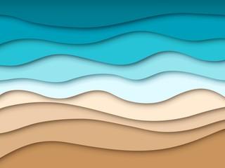 Paper sea beach. Abstract ocean summer travel landscape, summertime 3d paper cut texture. Origami cutout sandy shore vector wallpaper