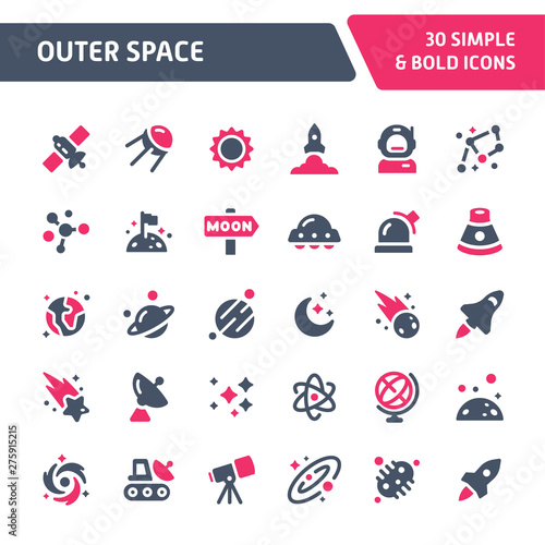 Obraz Outer Space Vector Icon Set. - fototapety do salonu