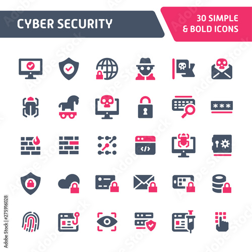 Photo Cyber Security Vector Icon Set.