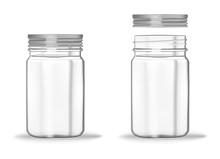 Glass Mason Jar With Screw Met...