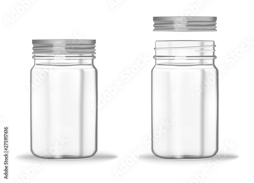 Glass mason jar with screw metal lid, vector mockup Fototapeta