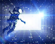 Astronaut in abstract space analytics technology background. Futuristic space exploration and technology.