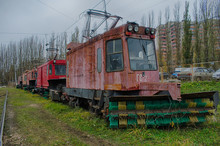 Tram GS-4, Designed To Clear The Rail From Snow, Lipetsk Depot. Snowmobile Tram