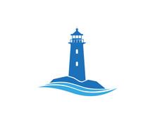 Creative Abstract Blue Lighthouse Waves Logo Design Vector Symbol Illustration