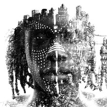 Paintography. Double Exposure Portrait Of African Man With Closed Eyes Combined With Hand Drawn Urban Sketch With Countless Buildings On A Cliff. Black And White
