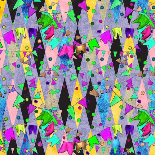 Watercolor grunge event celebration party seamless vintage pattern Canvas Print