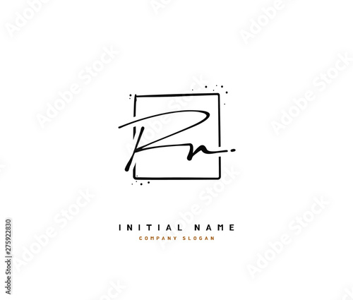 Photo  R N RN Beauty vector initial logo, handwriting logo of initial signature, wedding, fashion, jewerly, boutique, floral and botanical with creative template for any company or business