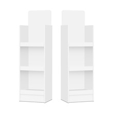 Two Blank POS Display Stands - Side Views. Vector Illustration