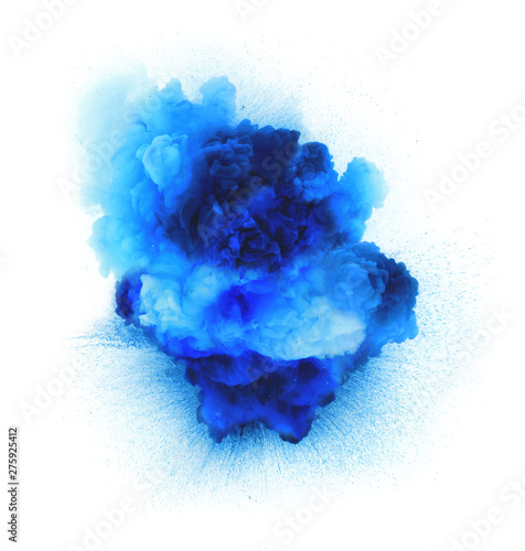 Photo  Blue gas explosion isolated on white background
