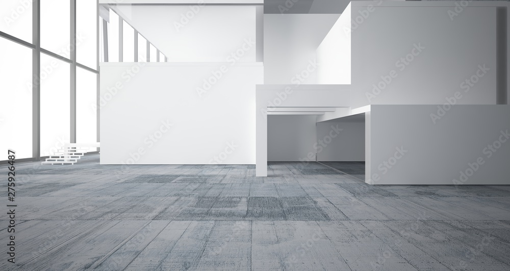 Fototapeta Abstract architectural white interior of a minimalist house with concrete background . 3D illustration and rendering.