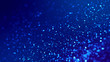 canvas print picture - Micro world. Glow blue particles on blue background are hanging in air for bright festive presentation with depth of field and light bokeh effects. Version 2