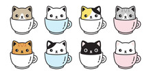 Cat Vector Icon Kitten Coffee Cup Calico Logo Fish Symbol Cartoon Character Illustration Doodle Design