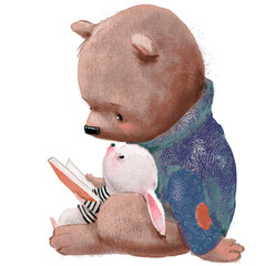 cute bear with little hare and book