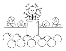 Vector Cartoon Stick Figure Drawing Conceptual Illustration Of Man Or Politician Speaking Or Having Boring Speech On Podium Or Behind Lectern And Saying Blah.