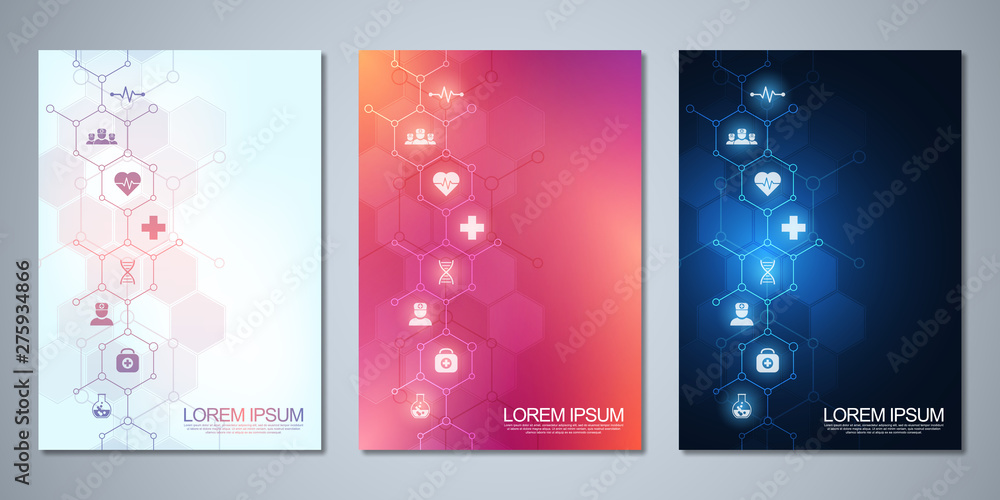 Fototapeta Template brochure or cover design, book, flyer, with medical icons and symbols. Healthcare, science and medicine technology concept.