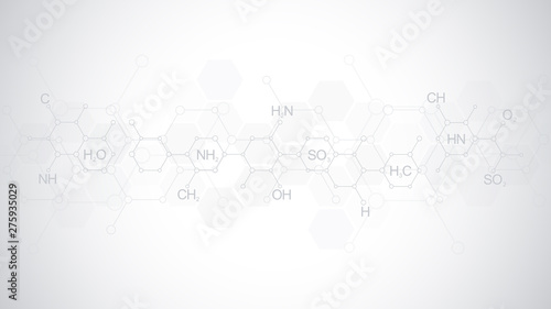 Abstract chemistry pattern on soft grey background with chemical formulas and molecular structures Tablou Canvas