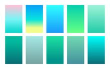 Vector Set Of Gradient Backgrounds Sea Color Palette