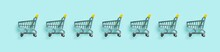 Shopping Cart In Row On Blue Background. Minimalism Style. Toy Trolley For Supermarket. Top View Or Flat Lay. Sale, Discount, Shopaholism Concept. Consumer Society Trend.
