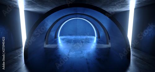 Fototapety, obrazy: Neon Lights Blue Glowing Circle Arch Sci Fi Futuristic Virtual Grunge Concrete Reflective Dark Empty Corridor Tunnel Spaceship Stage Garage Hallway 3D Rendering