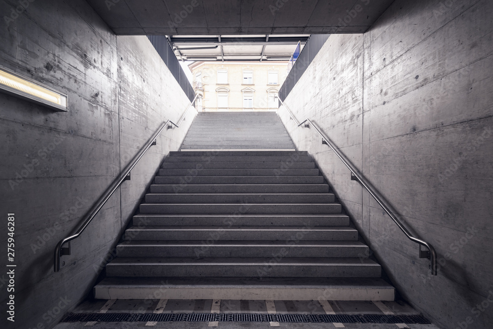 Stairway for Exit and Entrance to Subway Station, Modern Architecture Perspective of Structure Staircase, Access Way of Underground Transit.,Railway Transport Station or Public Transportation.