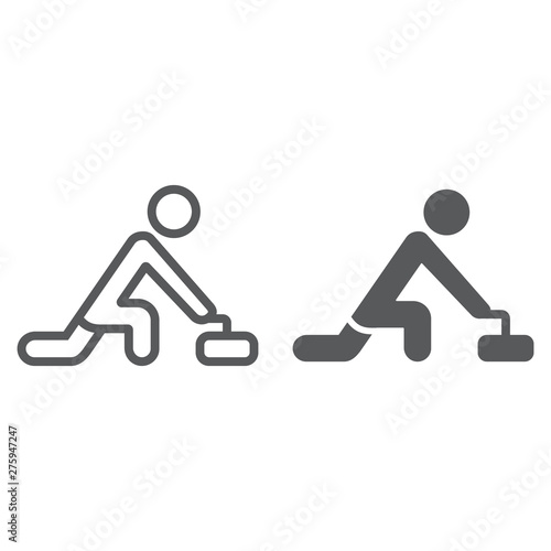 Photographie Curling game line and glyph icon, sport and winter, curler athlete sign, vector graphics, a linear pattern on a white background