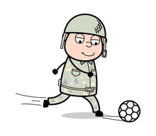 Playing Soccer - Cute Army Man Cartoon Soldier Vector Illustration