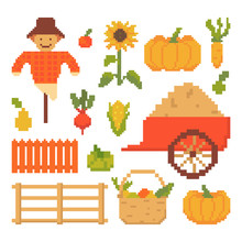 Set Of Autumn Elements Isolated On White Background. 8 Bits Graphics For Games. Vector Illustration In Pixel Art Style